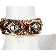 Beautiful Wide Retro 14K Rose Gold Diamonds Rubies Eternity Band Ring  RARE
