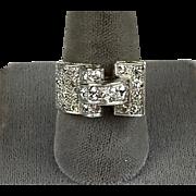 Chunky Retro c1940s 18K Rose Gold & Platinum Diamond Ring    Buckle Style   Unisex   STUNNING