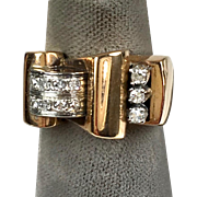 Chunky Retro c1940s 18K Rose Gold Diamond Ring    Abstract Buckle    STUNNING