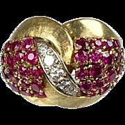 Stunning Vintage14K Gold Diamonds Rubies Cocktail Ring   Matte & Shiny Gold