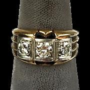 Chunky Retro c1940s 14K Rose Gold Ring  3 Large Diamonds 1.30ctw   Unisex   STUNNING