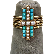 Pretty Victorian 14K Turquoise & Pearl Ring   Intricate Workmanship  Gorgeous Design