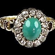 Delicate Victorian 14K Diamond & Turquoise Ring   Gorgeous Workmanship   Sparkles