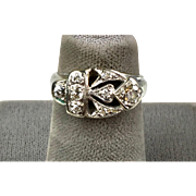 Stunning Retro c1940s 14K White Gold Diamond Ring    Pinky Ring Styling