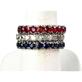 Vintage 18K Diamond Ruby Sapphire Eternity Bands  Wear Together or Individually  Stunning!!