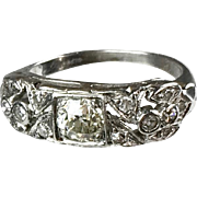 Art Deco Platinum Diamond Band Ring   Lays Flat on Finger    Sparkly & Lovely