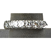 Vintage Platinum Diamond 1.05ctw Band Ring   Very Sparkly   Looks Lovely On the Hand