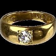 Antique English Victorian 18K Rose Gold Diamond Gypsy Ring    Single Stone   Unisex  RARE