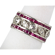 Vintage 1940s Retro Platinum Diamond Ruby Eternity Band Ring   Stunning Design   RARE