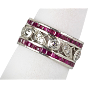 Vintage 1940s Retro Platinum Diamond 1.66ctw Ruby Eternity Band Ring  Stunning Design   RARE