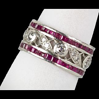Vintage 1940s Retro Platinum Diamond 1.66ctw Ruby Eternity Band Ring  Stunning Design   RARE