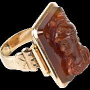 Antique Victorian 14K Rose Gold Carnelian Cameo Ring  Big & Bold  Unique  Unisex