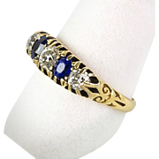 Antique Victorian 18K Gold Diamond Sapphire Ring  Top Quality  Special
