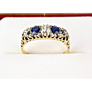 Antique Victorian 18K Gold Diamond Sapphire Ring   Top Quality    Stackable