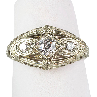 Vintage Art Deco 18K Gold 3 Diamond .55ctw Ring  Quality  Horizontal  Filigree  A Beauty!