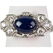 Vintage Art Deco 14K Gold Diamond Sapphire Ring  Gorgeous  Horizontal  Unique