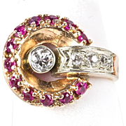 Vintage Retro 14K Rose Gold Diamond Ruby Ring   Sparkle  Gorgeous Design