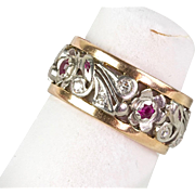 Pretty Retro 14K Rose & White Gold Diamonds Rubies Eternity Band Ring  Wide RARE - Red Tag Sale Item