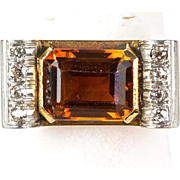 Vintage Retro 14K Rose Gold Diamond Citrine Ring  Big & Bold  Stunning