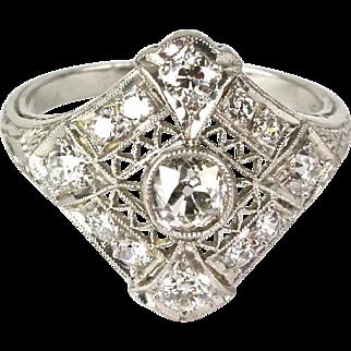 Vintage Art Deco Platinum Diamond 1.40ctw Ring  Gorgeous Filigree Design
