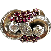 Stunning Retro 14K Rose Gold Diamond Ruby Ring   Large   Diamonds 1.60ctw  Special