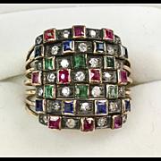 Vintage Art Deco 14K Gold 7 Rows Ring   Diamond   Emerald   Ruby   Sapphire