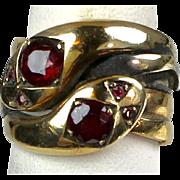 Antique English Victorian 9K Gold Garnet Double Serpent Snake Ring   Unisex   Wide   A Beauty!!