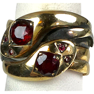 Antique English Victorian 9K Gold Garnet Double Serpent Snake Ring   Unisex   Wide   A Beauty!!