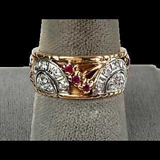 Beautiful Retro 14K Rose Gold Diamonds Rubies Wide Eternity Band Wedding Ring  RARE