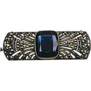 Stunning RARE French Art Deco Marcasite Pin Sterling ~ Blue Paste Stones ~ Quality
