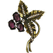 Stunning Vintage Large Flower Pin  Faceted Amethyst Glass on Gold  Big & Bold  RARE