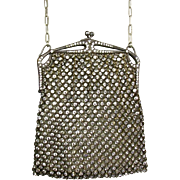 Antique Art Deco French Rhinestone Mesh Evening Bag Sparkle Galore Bezels  Excellent Condition EXTREMELY RARE