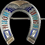 Antique Russian Sterling Silver Gold Horseshoe Pin Brooch   Enamel Lettering   Hallmarks   RARE