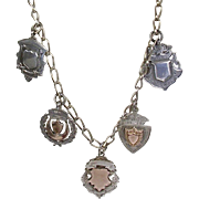 Vintage Early 20th C Sterling Silver English Medals Charms Necklace  Rose Gold Accents  Engraved  RARE