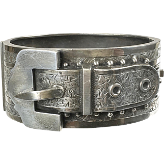 Antique English Victorian Sterling Silver Belt Buckle Bangle Bracelet    Wide   Aesthetic   Chasing   Top Quality
