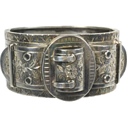 Antique English Victorian Sterling Silver Belt Buckle Bangle Bracelet    Unusual   Wide   Chasing  Top Quality