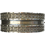 Antique English Victorian Sterling Silver Bangle Bracelet   Wide  Beautiful  Top Quality  RARE