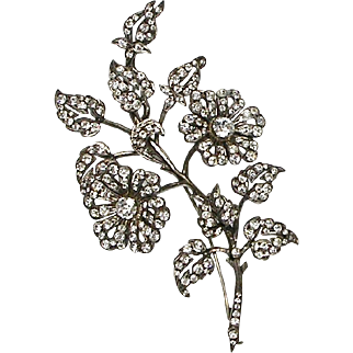 Stunning Huge 19th C French Sterling Paste Floral Trembler Brooch   Hallmarks   Full of Sparkle  VERY RARE