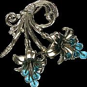Stunning Rare Art Deco Spray Pin Brooch  Rhodium  Big & Bold  Gorgeous Design  Top Quality