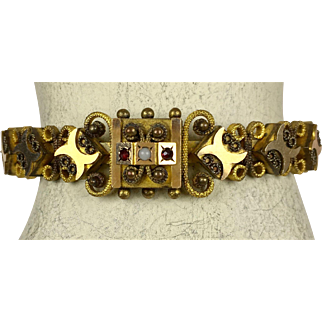 Unique Victorian Gold Front Accents on GF Bangle  Garnets   Adjustable Stretch  Top Quality