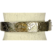 Antique Victorian Gilt Silver Bangle Bracelet   Chasing All Around   Top Quality