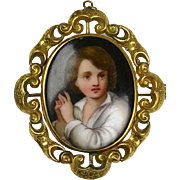Large Antique Victorian Swivel Brooch  Hand Painted Miniature  Boy   Chasing   RARE