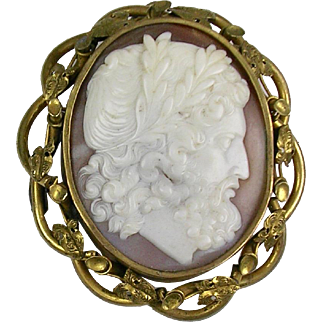 Huge Antique Victorian Cameo Brooch  Hercules  Exquisitely Carved  Top Quality  RARE