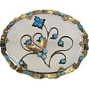 RARE Victorian 14K Gold Chalcedony Turquoise Brooch   Flowers   Chasing   Beautiful Design