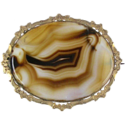 Large Antique Victorian Gold Banded Agate Pin Brooch   Brown & White  Top Quality  RARE