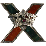 Antique Scottish Victorian Sterling Silver Agate Brooch   St. Andrews Cross with Crown