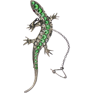 Gorgeous Antique Victorian Large Lizard Brooch   Sterling Silver  Paste   RARE