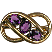 Huge Antique English Victorian Love Knot Brooch   Amethyst   Stunning   RARE