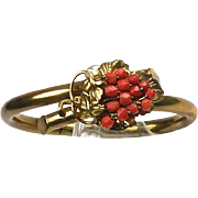 Stunning RARE Victorian Natural Coral Bangle  Gold Filled ~ Double Hinge ~ Top Quality