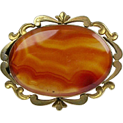 Large Victorian Carnelian Pin Brooch  Rolled Gold  Top Quality  RARE